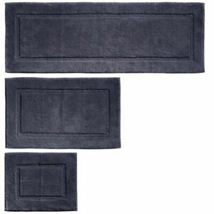 mDesign Soft Cotton Spa Mat Rug for Bathroom, Varied Sizes, Set of 3 - Navy Blue