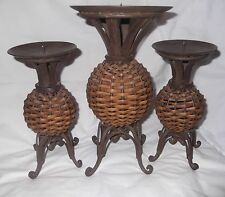 Wicker Metal Candle Holders Home Decor collectible set 3 Woven Ratan Heavy round