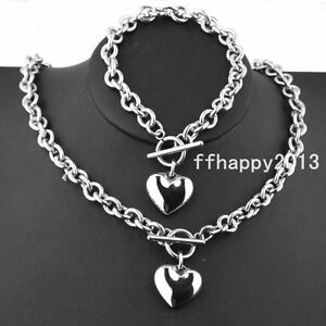 Womens Charm Stainless Steel Rolo Chain Solid Heart Toggle Bracelet Necklace Set