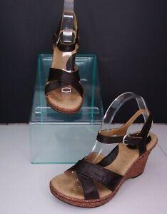 boc Espadrille Wedge Sandals Dark Brown Leather Size 9