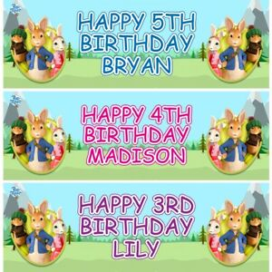 2 Personalised Peter Rabbit Birthday Banners Children Party Decoration Poster