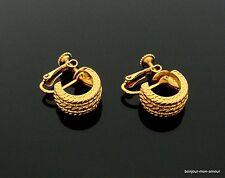 Designer Napier sig. elegante Marine Stil vergoldete Creolen Ohrclips Ohrringe