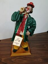 Sangiuliano Arte Fabric Mache Clown Holding Horn on Wooden Base made in Italy