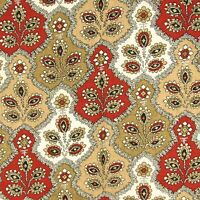 2.9 Yards Vintage Fabric Maroon Tan Paisley 100% Cotton