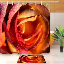 "Flame Rose Blooming Bathroom Waterproof Fabric Shower Curtain Mat 12Hook Set 72"""