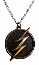 DC Comics THE FLASH Lightening Bolt Logo Antique Brass Finish PENDANT