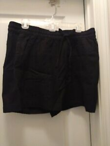 Old Navy Women Shorts Elastic Waist Size Large Black Linen NWT