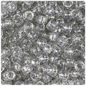 100 x Crystal Black Sparkle 9x6mm Barrel Beautiful Quality Beads