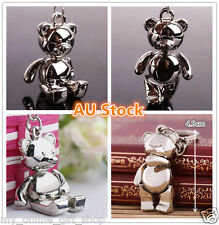 Cute Teddy Bear Doll Keyring Metal Silver 3D Keychain Key Ring Pendants Chrome
