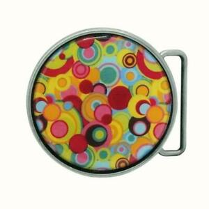7CM ROUND HAND DECORATED PEWTER FINISH BELT BUCKLE PSYCHEDELIC ART CIRCLES
