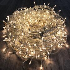 LED-500er Lichterkette innen & außen warmweiß Kabel transparent mit Trafo