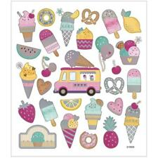 Icecream Metallic Foil Colourful Glitter Stickers 15cm Card Embellishments Sheet