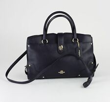 COACH Navy Pebbled Leather Mercer 30 Satchel Bag