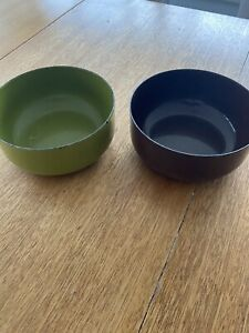 Pair 2 Kaj Frank Finel Enamel Bowls Brown Green 5.5""