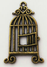 Steampunk Bird Cage Charm Pack of 2, 30mm x 21mm