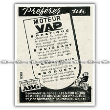 PUB VAP-ABG 'Préférez un moteur Vap' - Ad / Publicité Moteur auxiliaire de 1949
