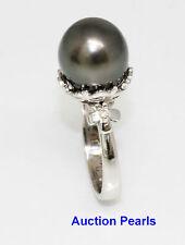 TAHITIAN 12 MM PEARL Diamond RING 18KT True Black  AAA Flawless