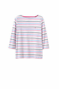 New Crew Clothing Womens 3/4 Sleeve 4 Colour Multistripe Tee in Multicoloured