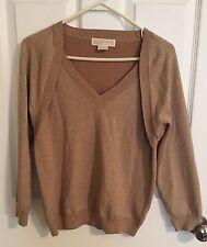Women's Michael Kors Medium M Gold Shirt Top Attached Sweater Fall Sparkle