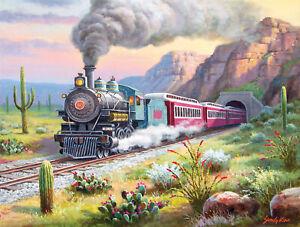 DESERT RUN by Sung Kim - SunsOut 500 piece TRAIN RAILROAD puzzle - NEW