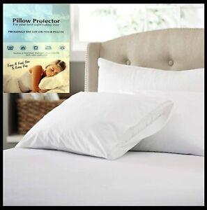 100% Cotton Hypoallergenic Zipped White Pillow Protectors Size 74cm x 48cm