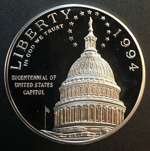 United States - Silver 1 Dollar Coin - 'U.S. Capitol' - 1994 - Proof