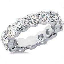 Band Sz 5.5 Ring 15 x 0.30 ct 4.50 ct Round cut Diamond 18K White Gold Eternity