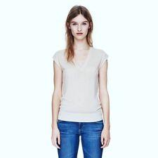 NWT Theory SZ Large Varsity Gray 95% Wool Knit V Neck Tank Top Sweater