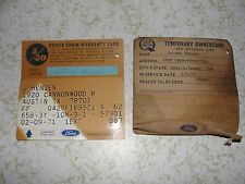 1970 FORD TORINO VINTAGE TEMPORARY OWNER CARD EXTENDED POWER WARRANTY CARD