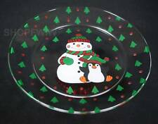 Hand-crafted Snowman and Penguin  Dessert Dish Christmas Cake Stand Plate