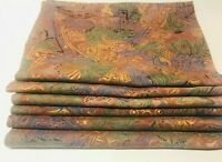 SET OF 6 ELEGANT COLORFUL CLOTH PLACEMATS W 6 MATCHING NAPKINS DARK RED/GREEN/BL