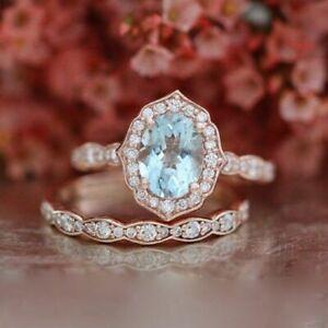 Halo 1.60 Carat Vintage Oval Aquamarine Wedding 925 SS Ring Set 14K Rose Gold FN