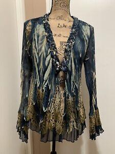 ALBERTO MAKALI Size M Blouse Shirt Top Long Sleeve Crinkle Printed