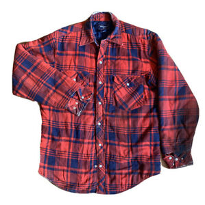 Vintage Williams Bay Lined Flannel Pearl Snap Button Up M Shirt Jacket Well Worn