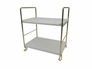 Salt - 2 Tier Stackable Shelf No Tools Required  (10 ×6.7 ×11) Gold/White
