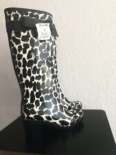Kate Spade Leopard Black And White Tall rain boots With Bow, size 7 NWT