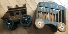 Vintage WOLF CREEK Circus WAGON TOY Wolf Bros. & Antique Wooden Carriage