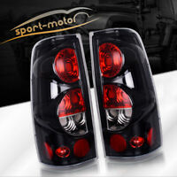 Tail Lights for 99-06 Chevy Silverado 99-03 GMC Sierra Black Clear Rear Lamp L+R