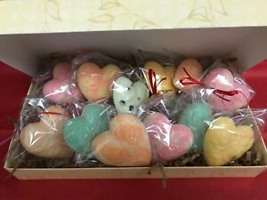 Gift Box/Ribbon of Dozen White Chocolate Hearts - Various Flavors! Party Favors!