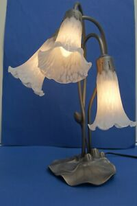 3 Light/Arm Lily Pad Art Nouveau style Table Lamp with White Mottled Glass Shade