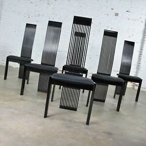 Six Tripod Post Modern Black Lacquer Dining Chairs by Pietro Costantini Made in