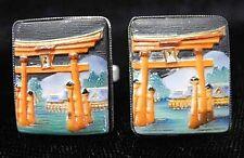 Signed TOSHIKANE Japan Silver TORII GATES Cufflinks Vtg Sterling Porcelain Arita