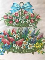 Vintage Birthday Card Sugared Glitter Tulips Lilacs Daffodils Parchment Paper