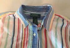 LAUREN RALPH LAUREN Cotton Striped Shirt Blouse Top Pastel Size 12 long sleeve