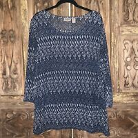 Chico's Easywear Women's Size 2 Top Textured Tunic  Blue White 3/4 Sleeve Blouse