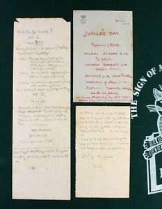 Robert Baden-Powell three manuscript pieces from his time in Meerut INDIA