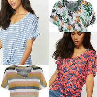 Womens Linen Look Tie Knot Front Striped Floral Loose Summer Tee T Shirt Top