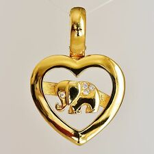 ELEPHANT PENDANT / ENHANCER GENUINE DIAMONDS 9K 375 GOLD GIFT BOXED NEW