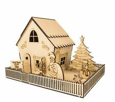 ChristmasWoodenGingerbread House & Garden Kit – Xmas Décor Decorations Arts