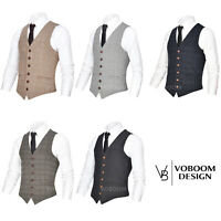 VOBOOM MENS PLAID WAISTCOAT VEST GILET SINGLE-BREASTED BUSINESS WEDDING S-3XL 4
